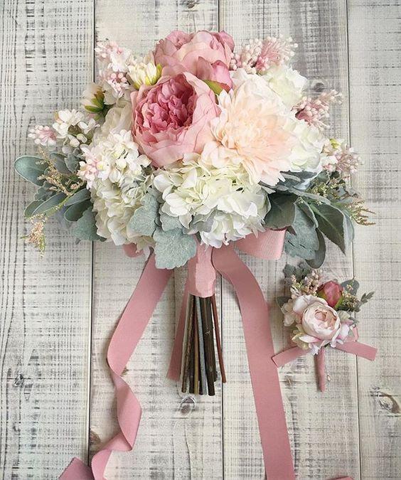 ramo novia rosa