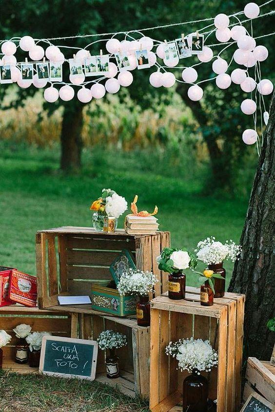 decoración cajas flores boda